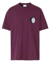 Camiseta con cuello circular estampada morado oscuro de Burberry