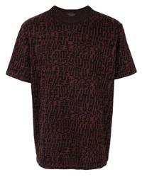 Camiseta con cuello circular estampada morado oscuro de Ermenegildo Zegna
