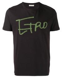 Camiseta con cuello circular estampada morado oscuro de Etro