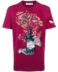Camiseta con cuello circular estampada morado de Etro