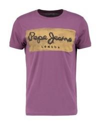 Camiseta con cuello circular estampada morado de Pepe Jeans
