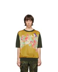 Camiseta con cuello circular estampada mostaza de Dries Van Noten