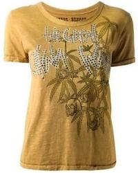 Camiseta con cuello circular estampada mostaza de Great China Wall