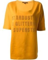 Camiseta con cuello circular estampada mostaza de Gucci