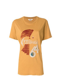 Camiseta con cuello circular estampada mostaza de Isabel Marant Etoile