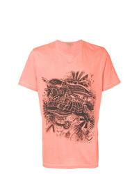 Camiseta con cuello circular estampada naranja de Burberry
