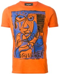 Camiseta con cuello circular estampada naranja de DSQUARED2