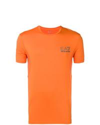 Camiseta con cuello circular estampada naranja de Ea7 Emporio Armani