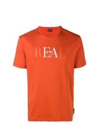 Camiseta con cuello circular estampada naranja de Emporio Armani