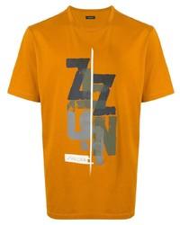 Camiseta con cuello circular estampada naranja de Ermenegildo Zegna