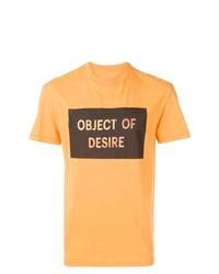 Camiseta con cuello circular estampada naranja de Maison Margiela
