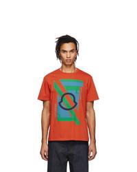 Camiseta con cuello circular estampada naranja de Moncler Genius