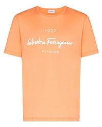 Camiseta con cuello circular estampada naranja de Salvatore Ferragamo