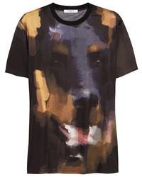 Camiseta con cuello circular estampada negra