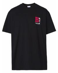 Camiseta con cuello circular estampada negra de Burberry