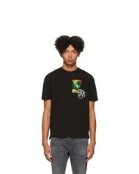 Camiseta con cuello circular estampada negra de Diesel