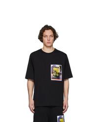 Camiseta con cuello circular estampada negra de Dries Van Noten