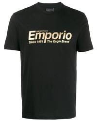 Camiseta con cuello circular estampada negra de Emporio Armani