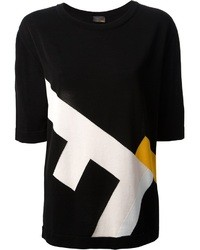 Camiseta con cuello circular estampada negra de Fendi