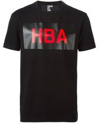Camiseta con cuello circular estampada negra de Hood by Air