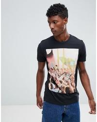 Camiseta con cuello circular estampada negra de Jack & Jones