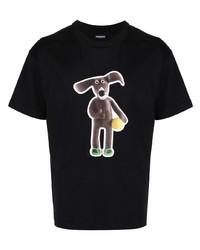 Camiseta con cuello circular estampada negra de Jacquemus