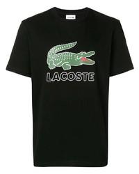 Camiseta con cuello circular estampada negra de Lacoste