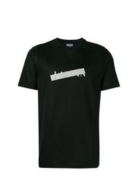 Camiseta con cuello circular estampada negra de Lanvin