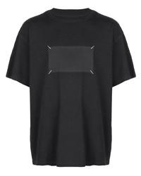 Camiseta con cuello circular estampada negra de Maison Margiela