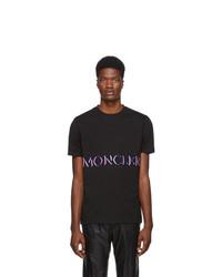Camiseta con cuello circular estampada negra de Moncler Genius