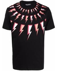 Camiseta con cuello circular estampada negra de Neil Barrett