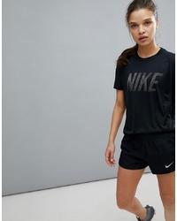 Camiseta con cuello circular estampada negra de Nike Running