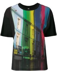 Camiseta con cuello circular estampada negra de Paul Smith
