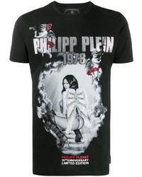 Camiseta con cuello circular estampada negra de Philipp Plein