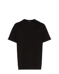 Camiseta con cuello circular estampada negra de Raf Simons