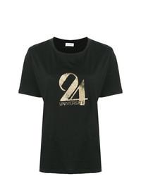 Camiseta con cuello circular estampada negra de Saint Laurent
