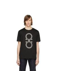 Camiseta con cuello circular estampada negra de Salvatore Ferragamo