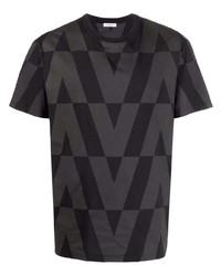 Camiseta con cuello circular estampada negra de Valentino
