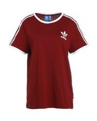 Camiseta con cuello circular estampada roja de adidas