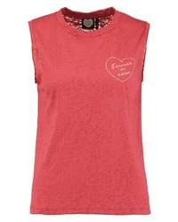 Camiseta con Cuello Circular Estampada Roja de Catwalk Junkie