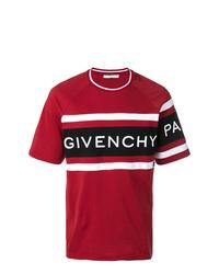 Camiseta con cuello circular estampada roja de Givenchy