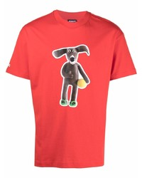 Camiseta con cuello circular estampada roja de Jacquemus