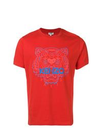 Camiseta con cuello circular estampada roja de Kenzo