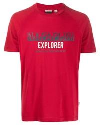 Camiseta con cuello circular estampada roja de Napapijri