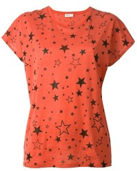 Camiseta con Cuello Circular Estampada Roja de Saint Laurent