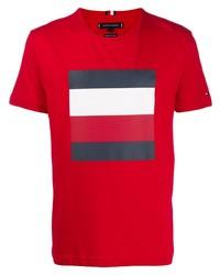 Camiseta con cuello circular estampada roja de Tommy Hilfiger
