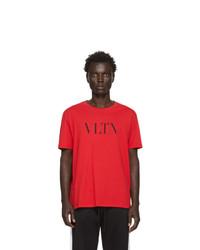Camiseta con cuello circular estampada roja de Valentino