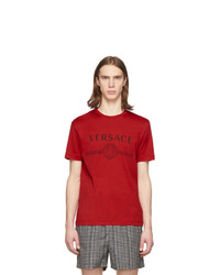 Camiseta con cuello circular estampada roja de Versace