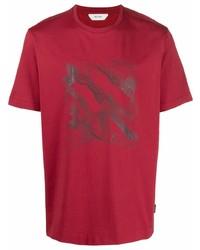 Camiseta con cuello circular estampada roja de Z Zegna