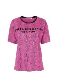 Camiseta con cuello circular estampada rosa de Philosophy di Lorenzo Serafini